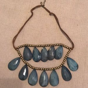 Costume Bead Necklace with leather and gold beads